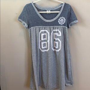 Gray with blue stripes dress PINK DRESS